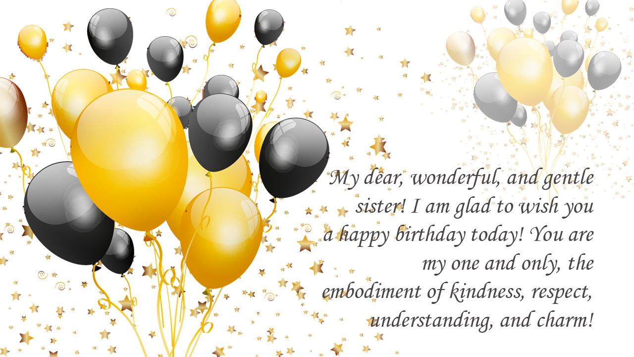 golden black balloon sister birthday