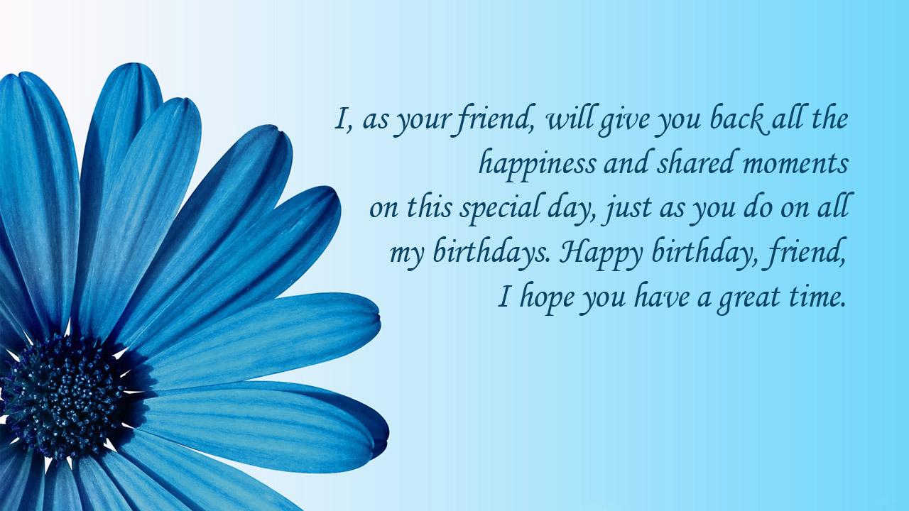 blue flower birthday message friend