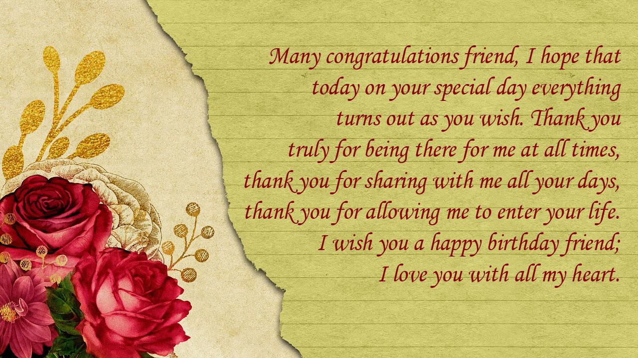birthday sms friend red rose